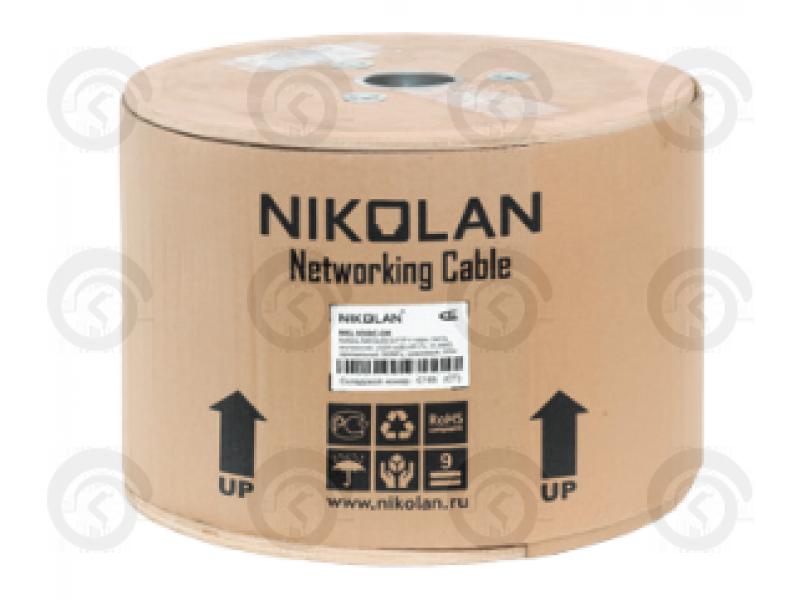 UTP4 Cat.5e Cu 0,50мм  100 МГц одножильный внутренний PVC нг(А) серый, 305м NIKOLAN