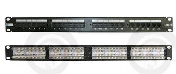 Патч-панель, RJ45, кат.5E, UTP, 24 порта, 1U, IDC dual