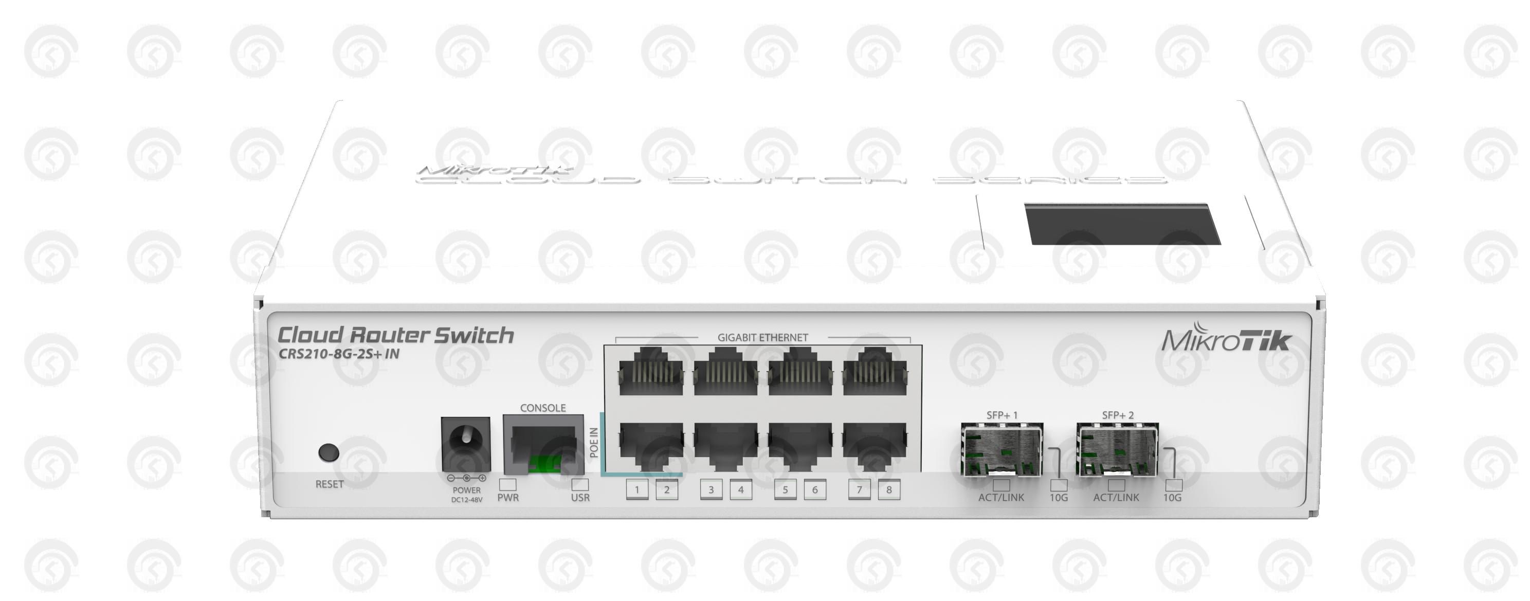 Коммутатор Mikrotik CRS210-8G-2S+IN управляемый
