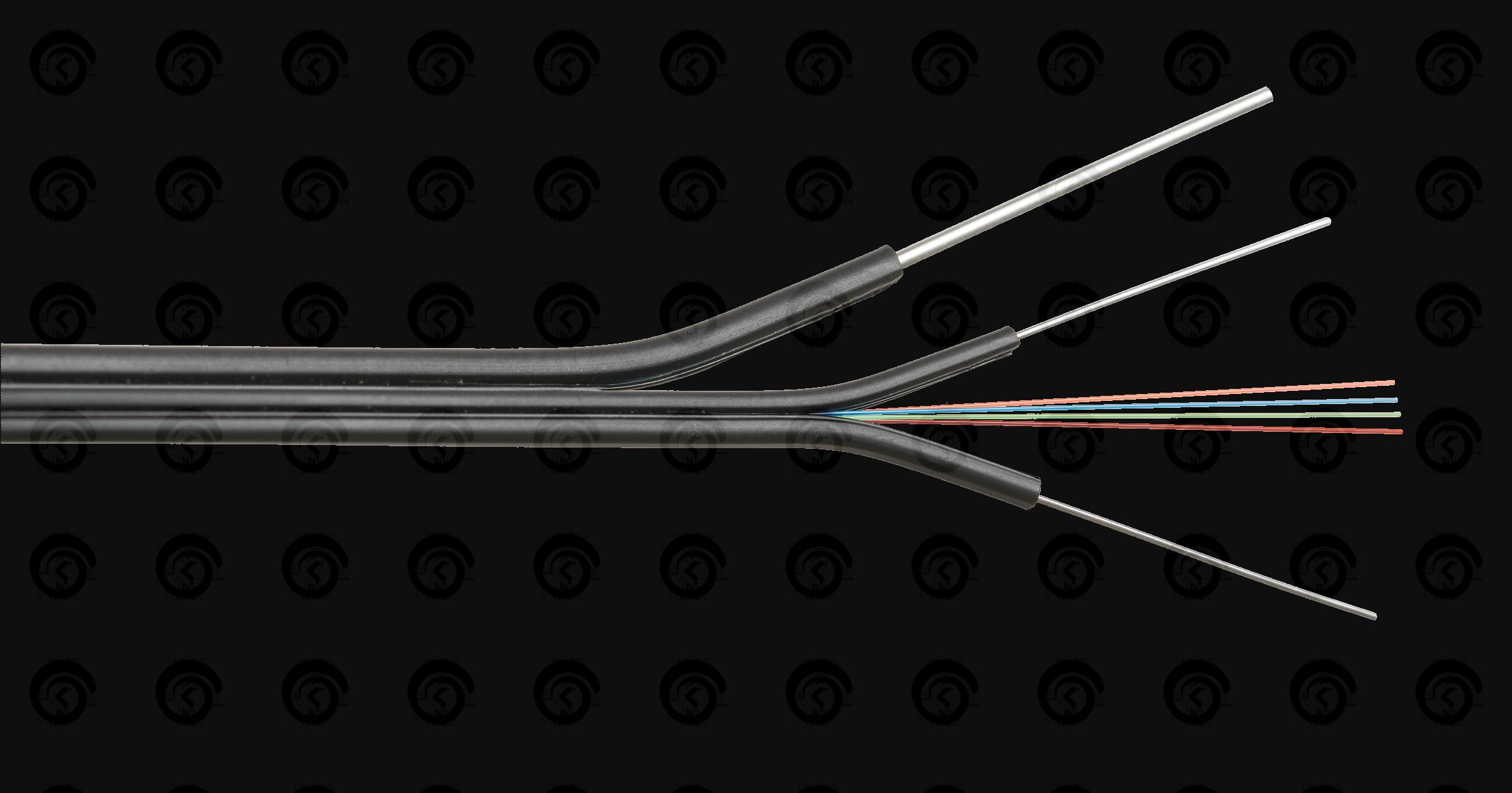 """ВОК 01 волокно, одномодовый 9/125мкм, OS2, G.657, внутренний/внешний, """"бабочка"""" со стеклопластиковыми прутками с тросом, LSZH -40C нг(A)-HFLTx, черный"""