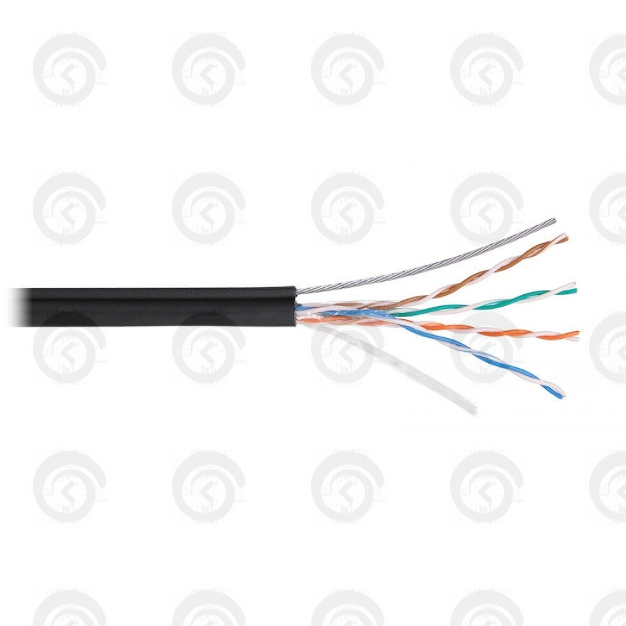 UTP4 Cat.5e, 100МГц, одножильный, BC (чистая медь), внешний, PE до -40C, с одножильным тросом, черный, 305м NETLAN
