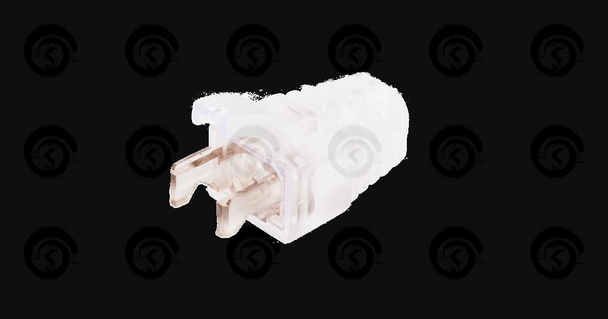 Защитный колпачок для коннекторов RJ45 под кабели диаметром 5,5мм, с защитой защелки, прозрачный, уп-ка 100шт.