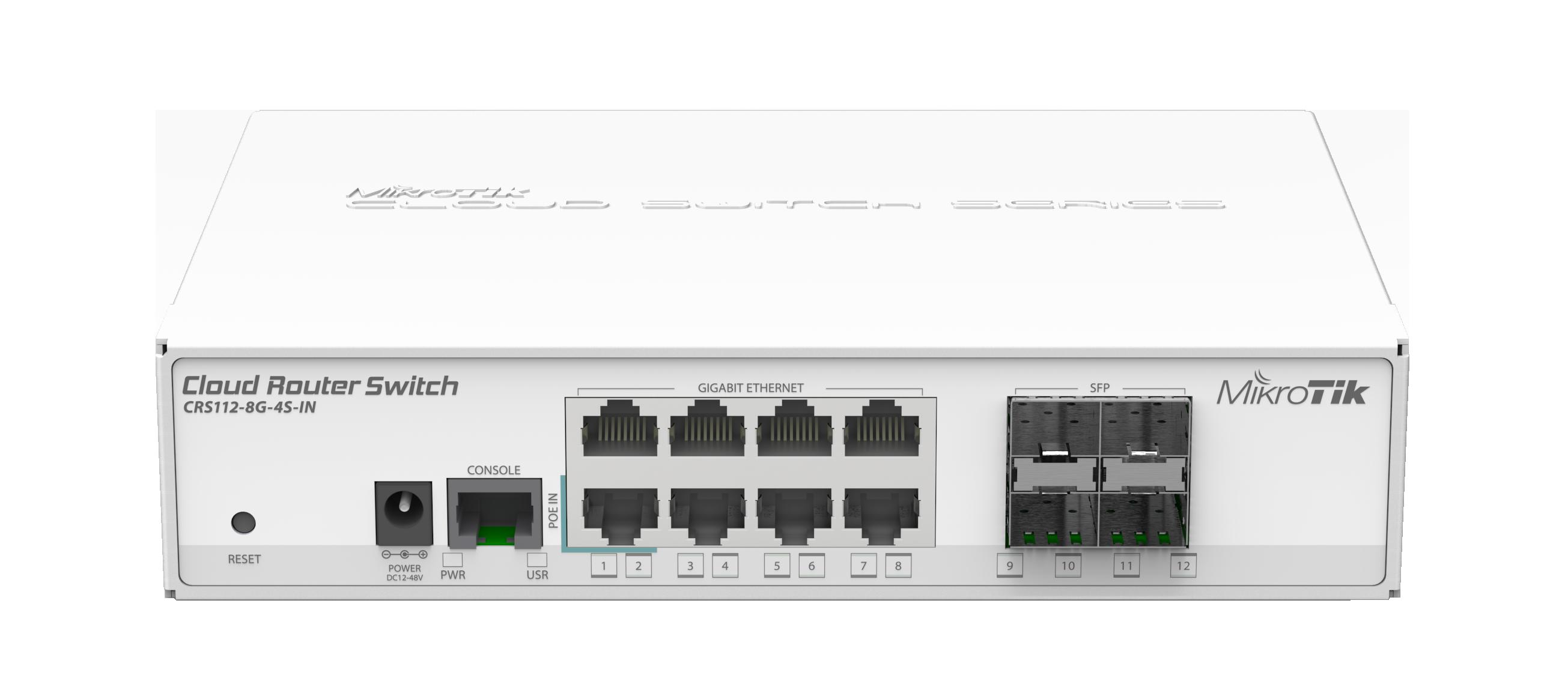 Коммутатор Mikrotik CRS112-8G-4S-IN управляемый