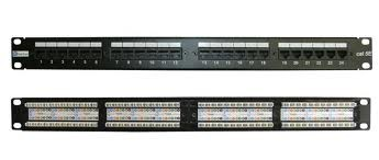 Патч-панель, RJ45, кат.5E, UTP, 24 порта, 1U, IDC2 неэкранированная