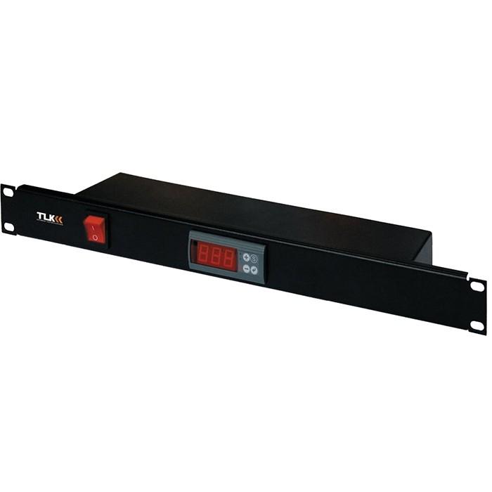 """Панель TLK с терморегулятором и датчиком, 19"""", 1U, Г90мм, без шнура питания, черная"""
