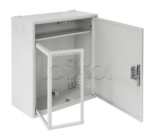 Шкаф настенный антивандальный с поворотной рамой 4U и полкой, Ш580хВ700хГ280мм, серый
