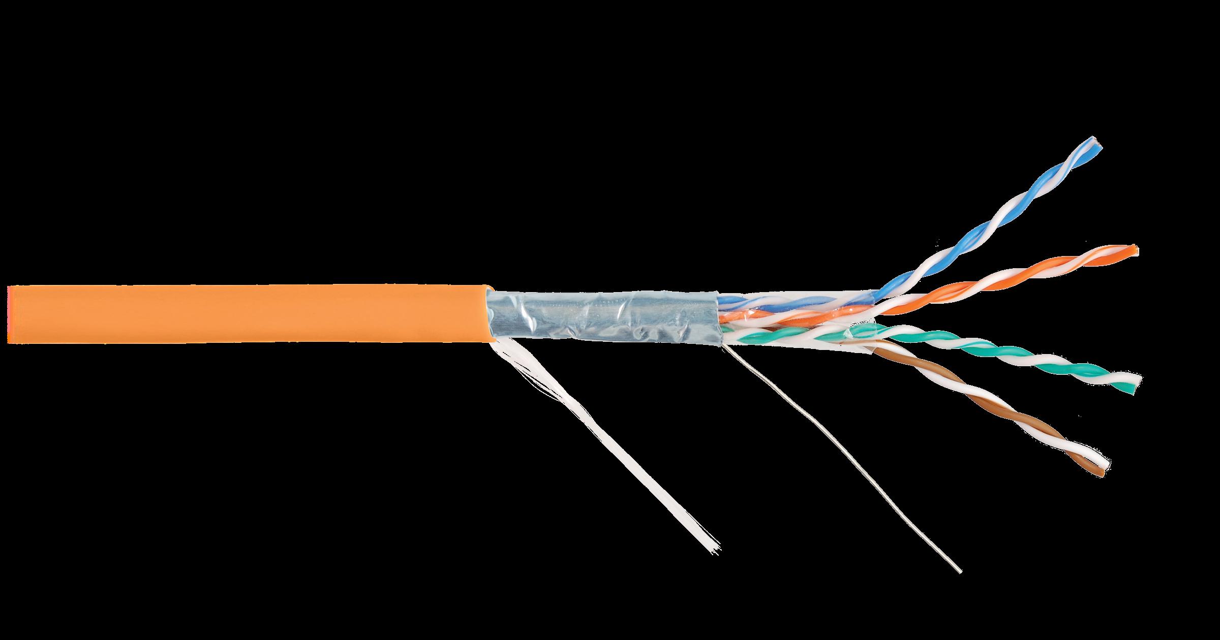 FTP4 Кат.6a (Класс Eа), 500МГц, одножильный, Медный, 23AWG (0,56мм), внутренний, LSZH нг(А)-HFLTx, оранжевый, 500м NIKOLAN