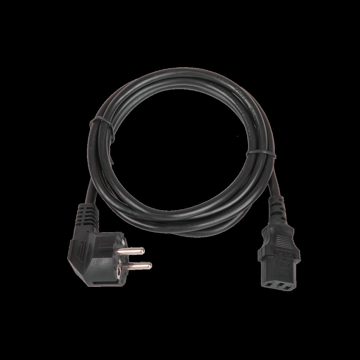 Кабель питания, вход - евровилка с заземлением (Schuko, CEE 7/7) , выход - разъём C13 (IEC 60320),  3x1мм2, 3.0 м, 250В 10A, черный
