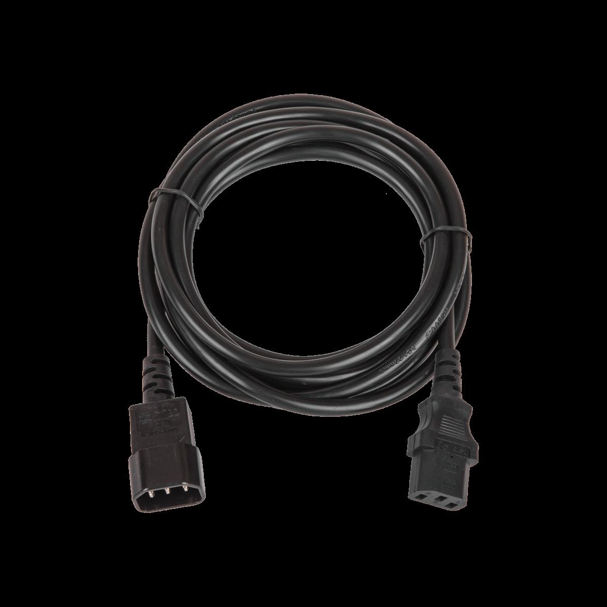Кабель питания, вход - разъём C14 (IEC 60320) , выход - разъём C13 (IEC 60320),  3x1мм2, 3 м, 250В 10A, черный